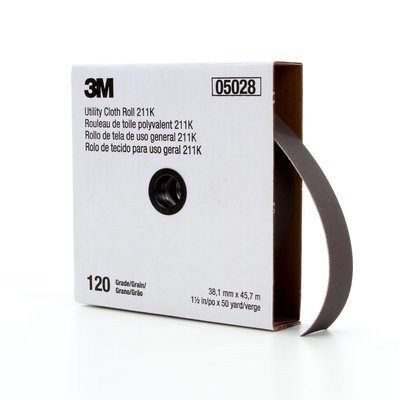 Picture of 3M 211K Series 05028 Utility Cloth Roll, 50 yd L, 1-1/2 in W, 120 Grit, Fine, Aluminum Oxide Abrasive