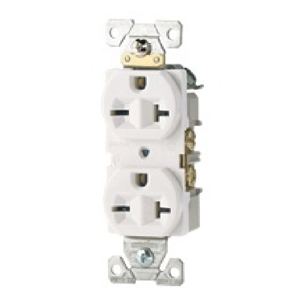 Picture of Eaton Wiring Devices 1876LA Single Receptacle, 2-Pole, 250 V, 20 A, Side Wiring, NEMA: 6-20R, Light Almond