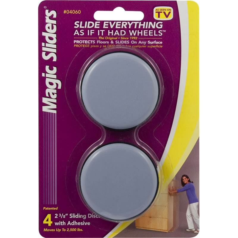 Picture of MAGIC SLIDERS 04060 Furniture Slide Glide, 2500 lb, Plastic, Gray, Polymer-Coated