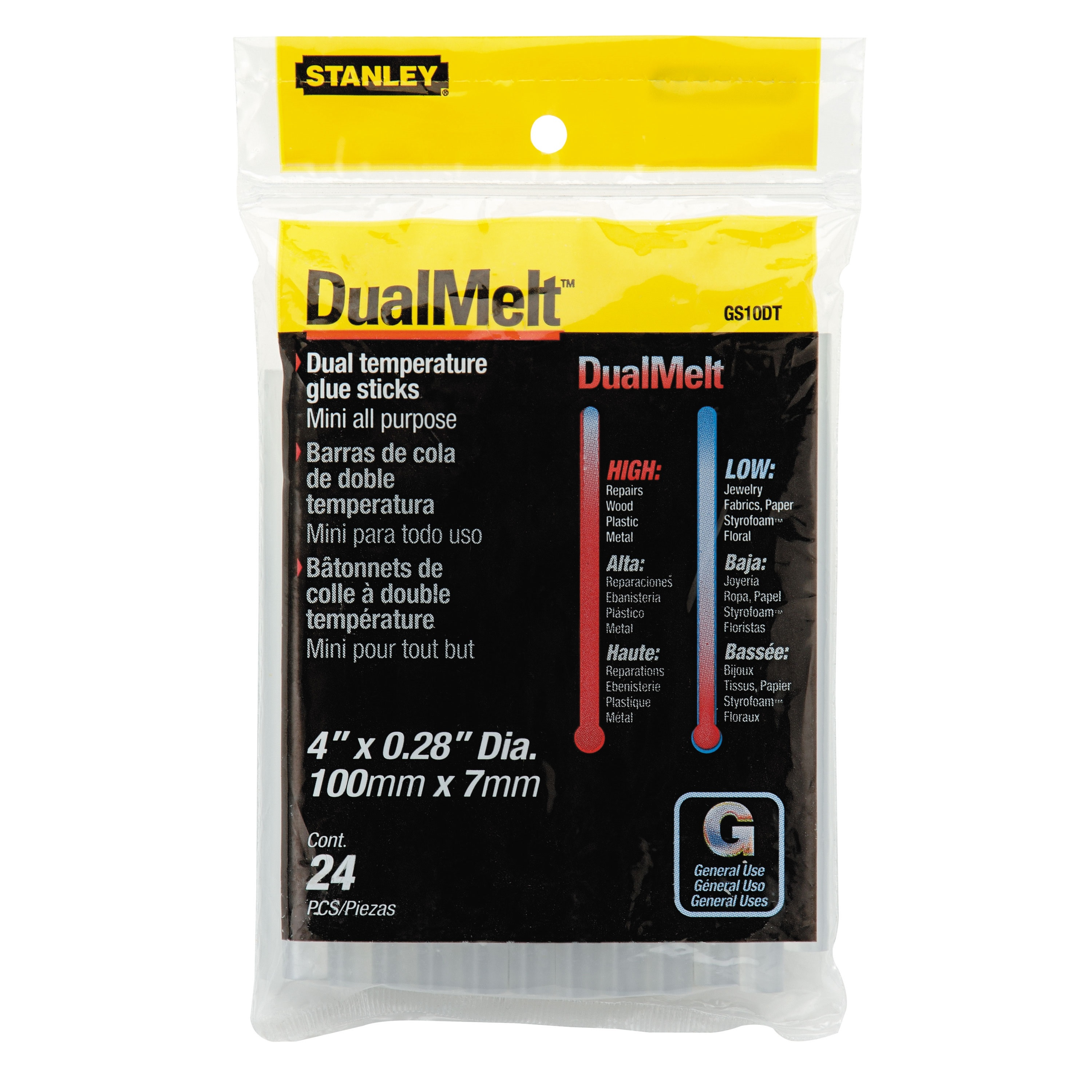Picture of STANLEY DualMelt GS10DT Glue Stick, Stick, Resin Odor, Clear