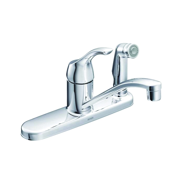 Picture of Moen Adler CA87554C Kitchen Faucet, 1.5 gpm, 1-Faucet Handle, Stainless Steel, Chrome, Deck Mounting
