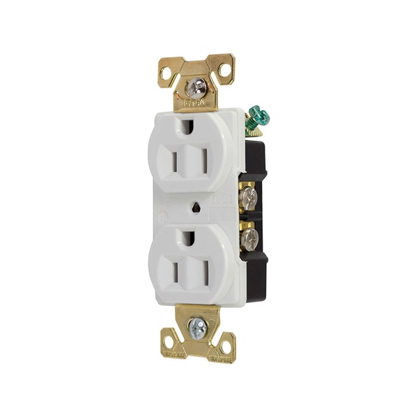 Picture of Eaton Cooper Wiring AH5252 Series AH5252W Duplex Receptacle, 2-Pole, 15 A, 125 V, Back, Side Wiring, NEMA: 5-15R