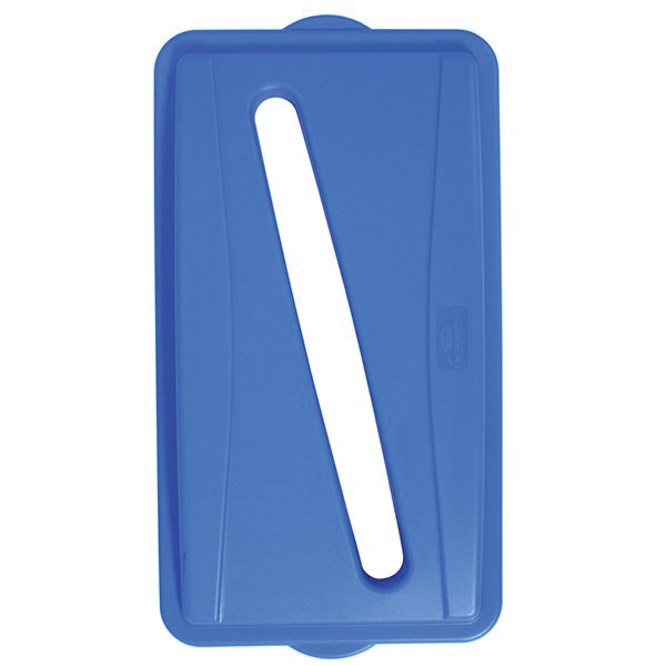 Picture of CONTINENTAL COMMERCIAL Wall Hugger 7317BL Receptacle Lid with Slot, Plastic, Blue