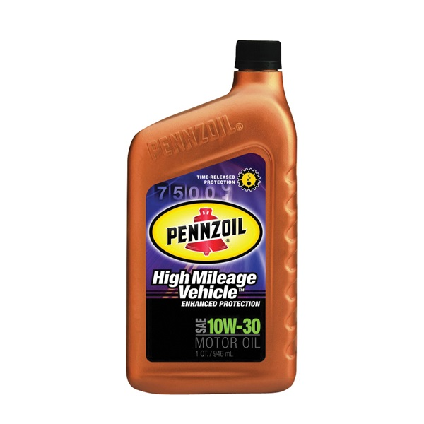 Picture of Pennzoil High Mileage 550022812/160554 Motor Oil, 10W-30, 1 qt Package, Bottle