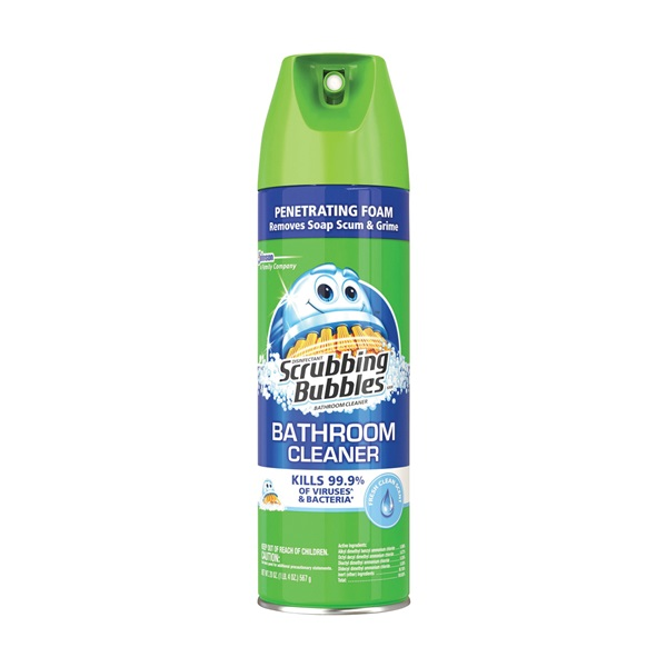 Picture of Scrubbing Bubbles 71367 Bathroom Cleaner, 22 oz Package, Aerosol Can, Pleasant Fresh Clean, Yellow