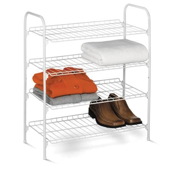 Picture of Honey-Can-Do SHO-01172 Closet Storage Shelf, 4-Shelf, 11.8 in W, 27.6 in H, Steel, White