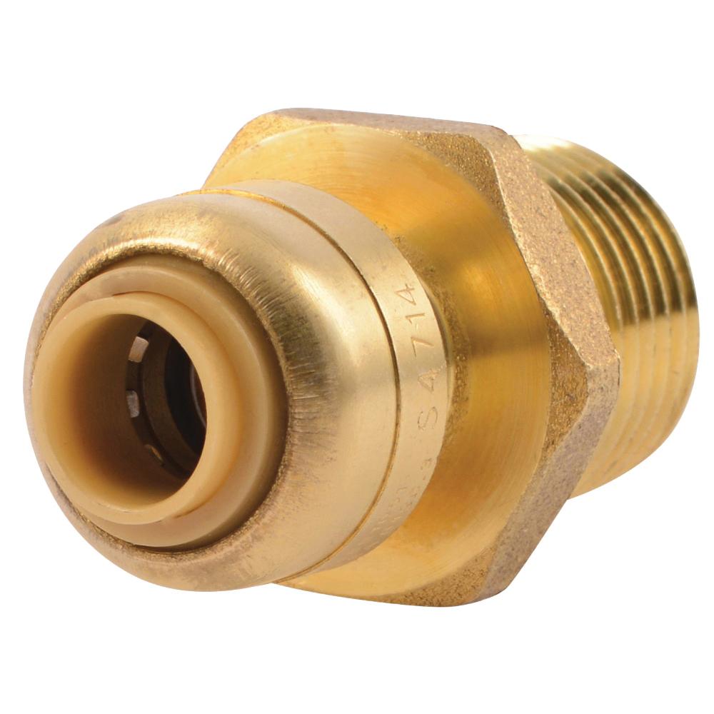 Picture of SharkBite U110LFA Pipe Connector, 1/4 x 1/2 in, MNPT x MNPT, Brass, 200 psi Pressure