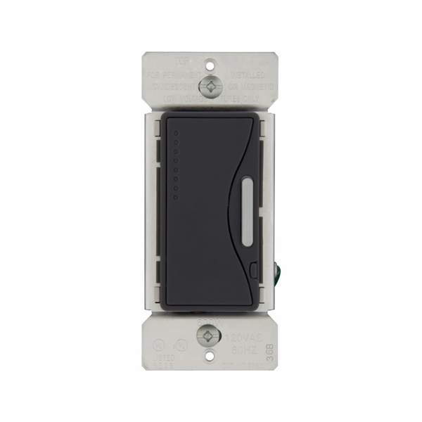 Picture of Eaton Wiring Devices ASPIRE 9534SG Smart Dimmer, 120 V, 600 W, Halogen, Incandescent Lamp, 3-Way, Silver Granite