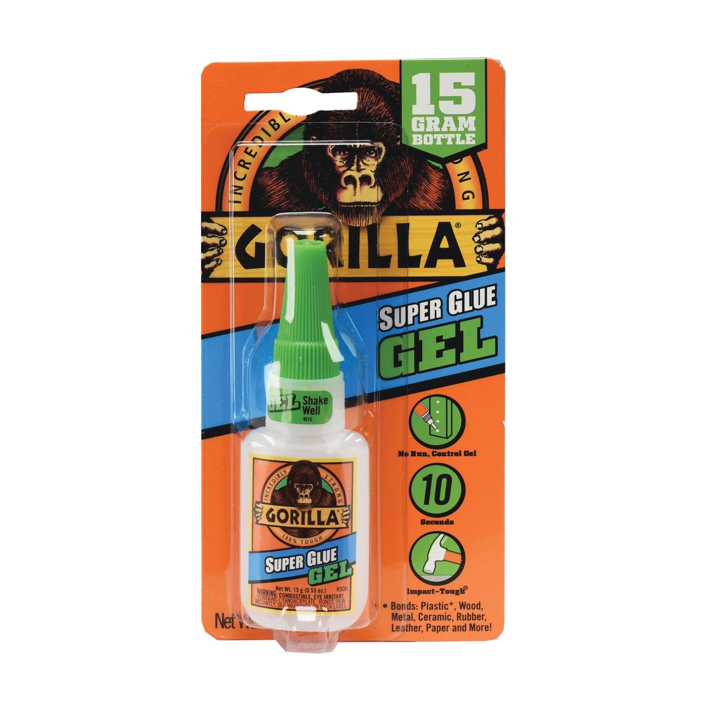 Picture of Gorilla 7600103 Super Glue, Liquid, Irritating, Straw/White Water, 15 g Package, Bottle