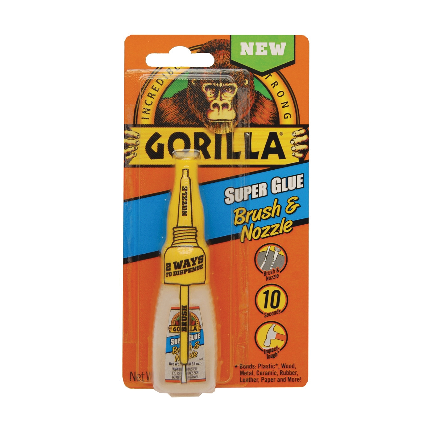 Picture of Gorilla 7500102 Super Glue Brush and Nozzle, Liquid, Irritating, Straw/White Water, 10 g Package, Bottle