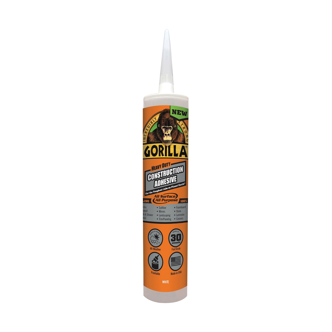 Picture of Gorilla 8010003 Construction Adhesive, White, 9 oz Package, Cartridge