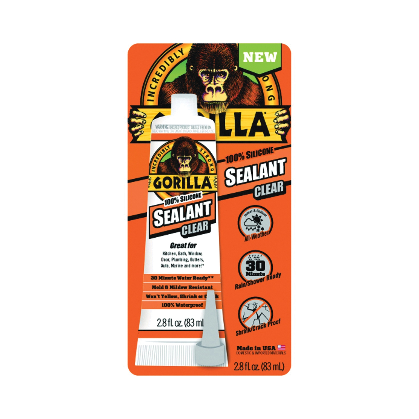 Picture of Gorilla 8090002 Silicone Sealant, Clear, -40 to 350 deg F, 2.8 oz Package, Tube