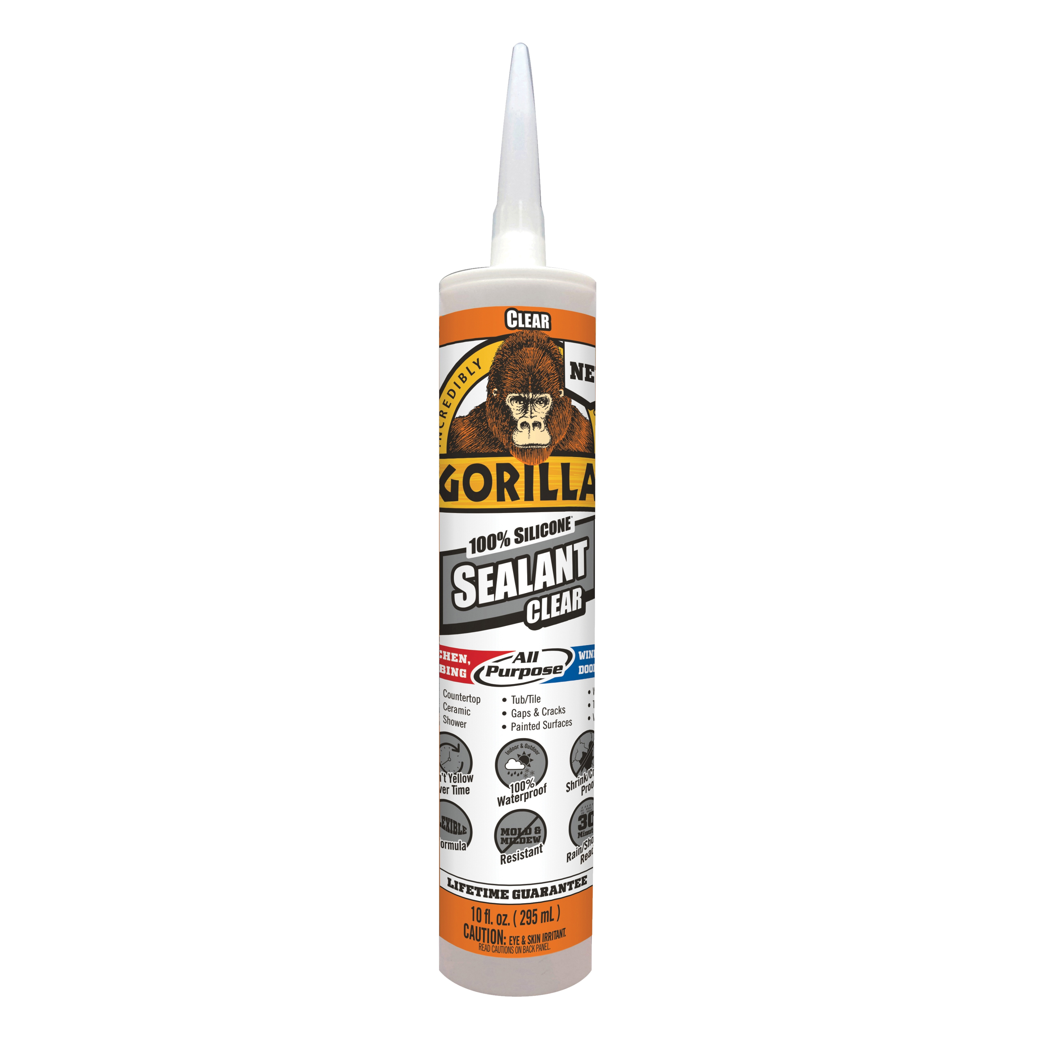 Picture of Gorilla 8050002 Silicone Sealant, Clear, 1 days Curing, -40 to 350 deg F, 10 oz Package, Cartridge