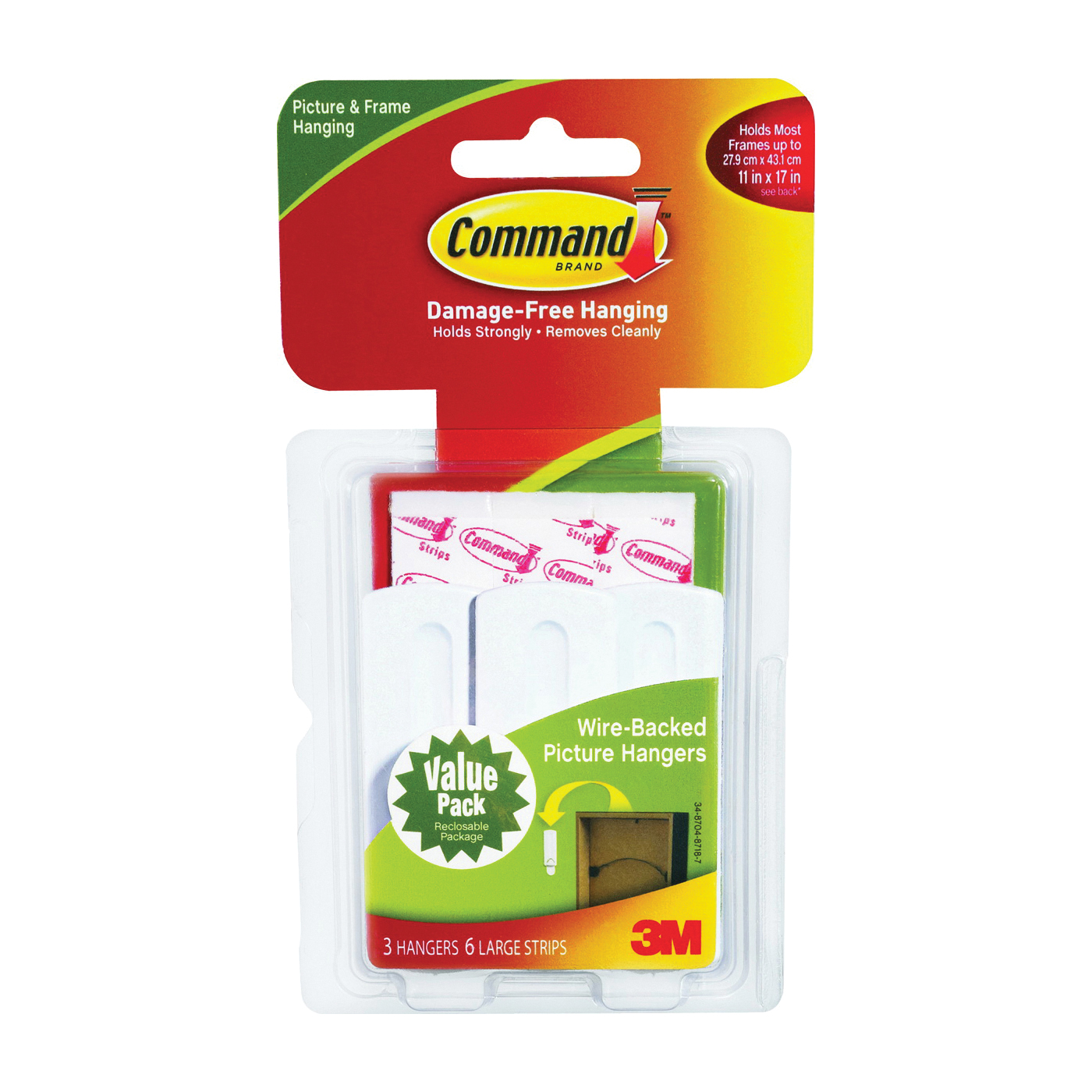Picture of Command 17043 Picture Hanger, 5 lb, Plastic, White, Adhesive Strip Mounting, 3, Pack
