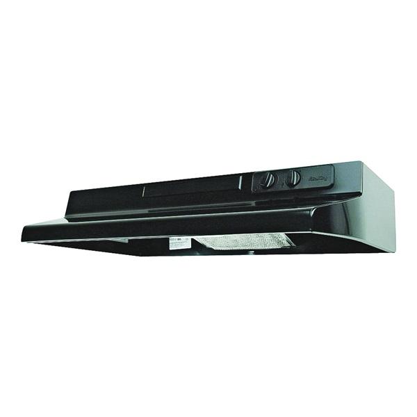 Picture of Air King Designer DS DS1306 Range Hood, 200 cfm, 30 in W, 12 in D, 6 in H, Steel, Black