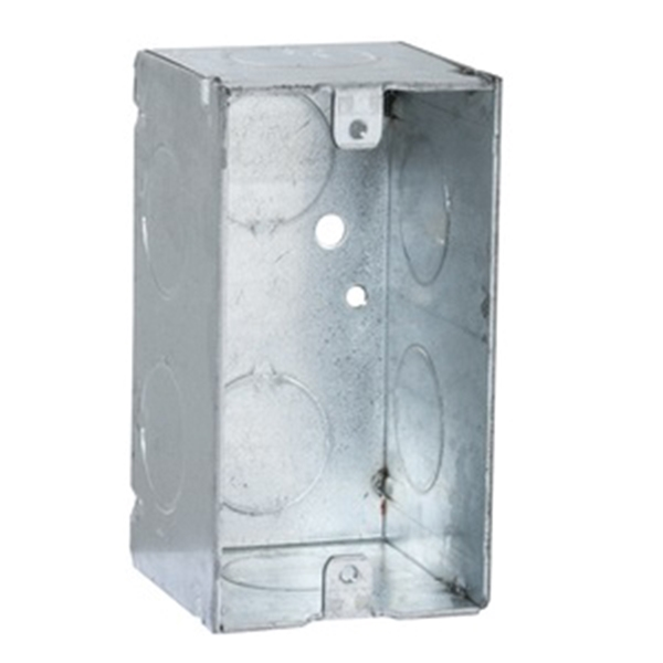 Picture of Orbit HDB-1-MKO Deep Handy Box, 1-Gang, 5-Knockout, 1/2 in Knockout, Steel, Gray, Galvanized, Bracket Mounting