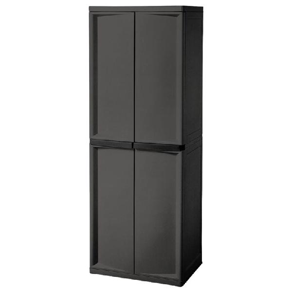 Picture of Sterilite 01423V01 Shelf Cabinet, 25-5/8 in OAW, 69-3/8 in OAH, 18-7/8 in OAD, 4-Shelf, Plastic, Gray, Flat