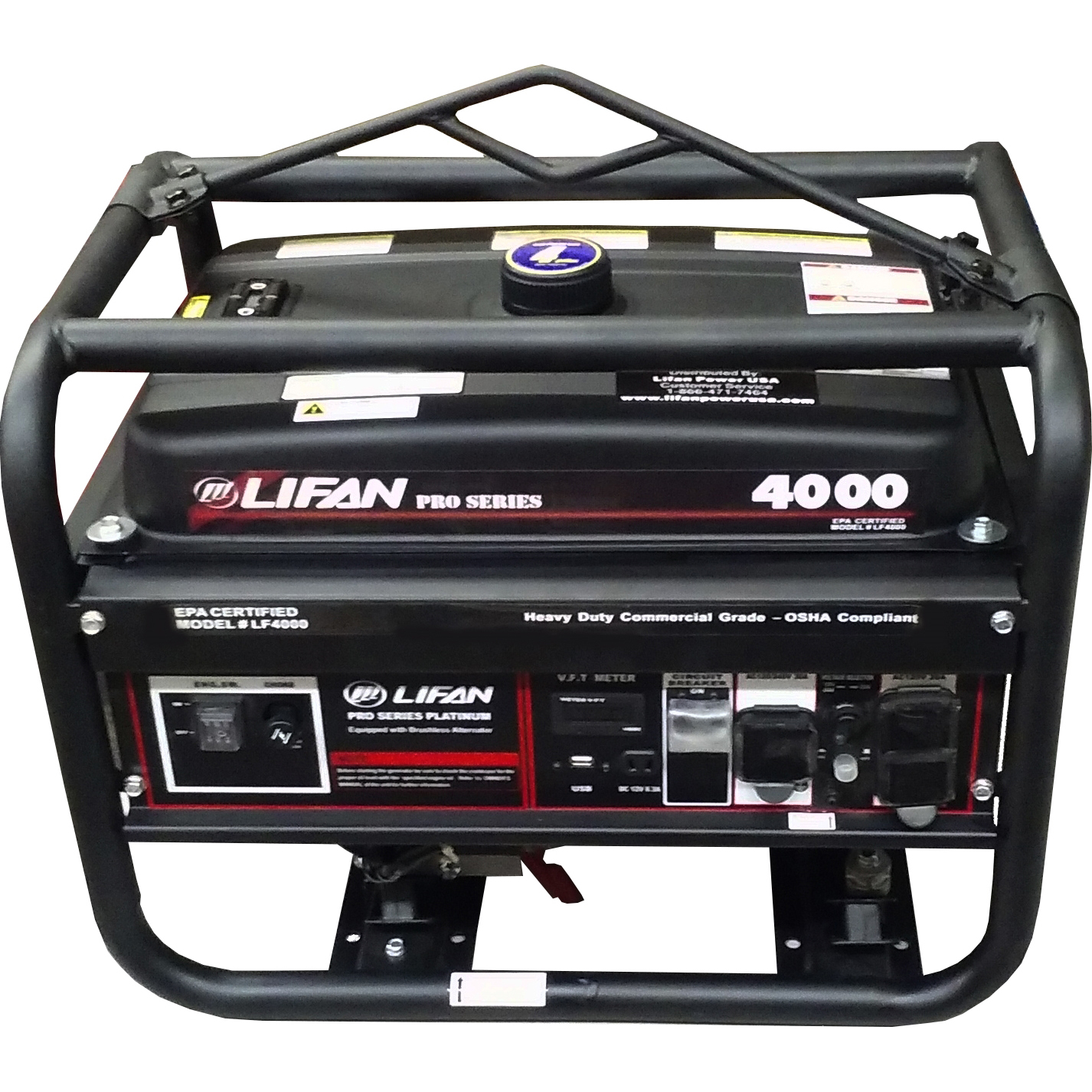 Picture of LIFAN LF4000 Portable Generator, 30 A, 120/240 V, 4000 W Output, Unleaded Gas, 4 gal Tank, 12 hr Run Time