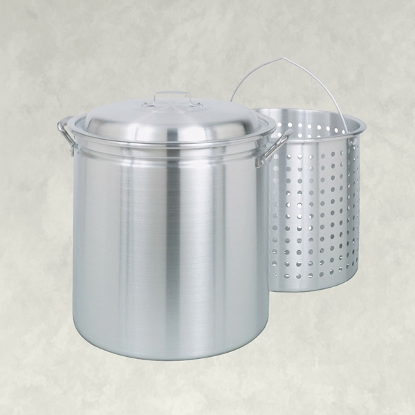 Picture of Bayou Classic 4042 Stock Pot with Basket, 42 qt Capacity, Aluminum, Riveted Handle