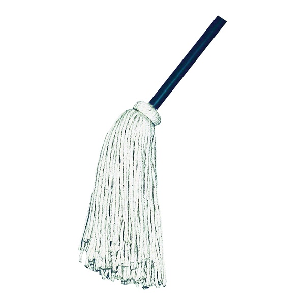 Picture of Chickasaw 00506 Wet Mop with Hanger, 16 oz Headband, 48 in L, Cotton Mop Head, White Mop Head, Metal Handle
