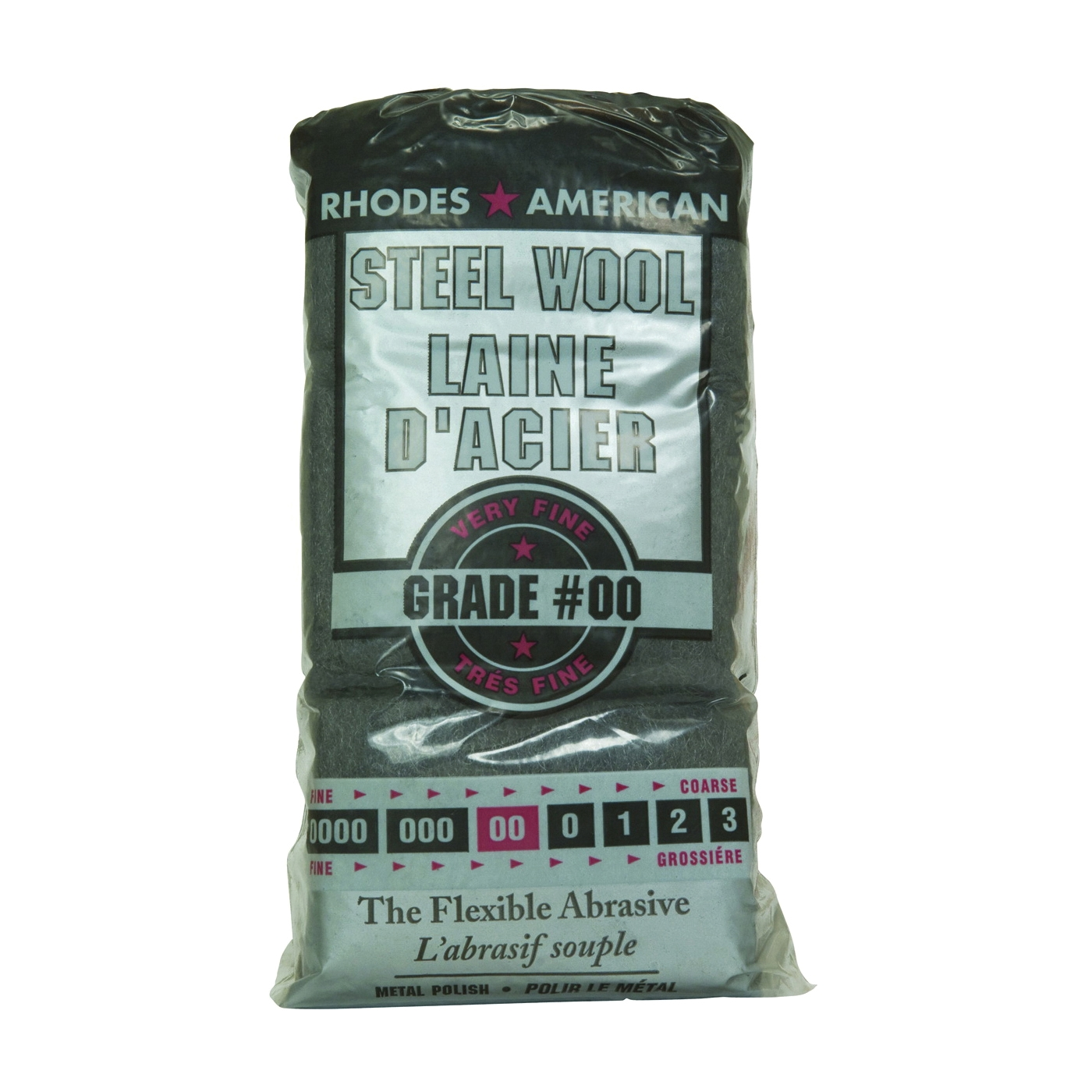 Picture of Rhodes American 10121154 Steel Wool Pad, #00 Grit, Very Fine, Gray