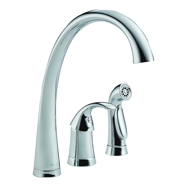 Picture of DELTA PILAR 4380-DST Kitchen Faucet with Side Spray, 1.8 gpm, 1-Faucet Handle, Brass, Chrome, Deck Mounting
