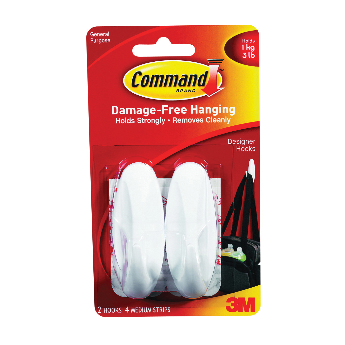 Picture of Command 17081 Designer Hook, 5/8 in Opening, 3 lb, 2-Hook, Plastic, White, 6, Pack