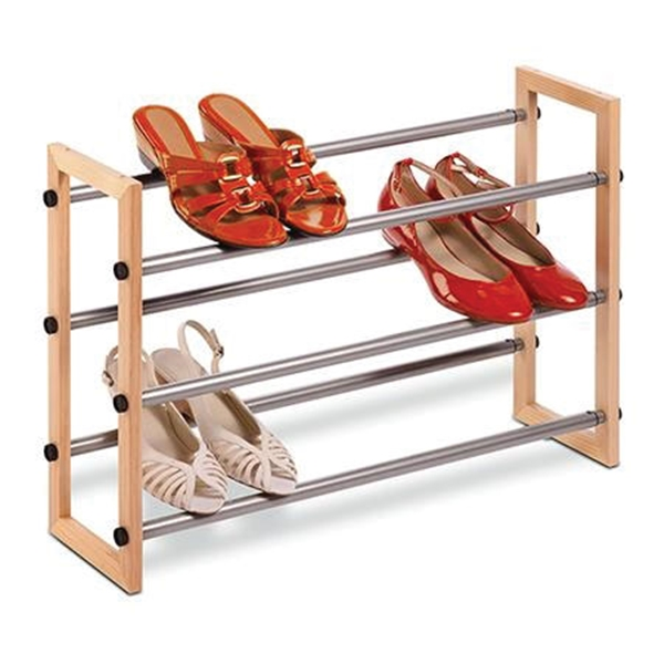 Picture of Honey-Can-Do SHO-01372 Shoe Rack, 25 to 46 in W, 18 in H, Metal/Wood
