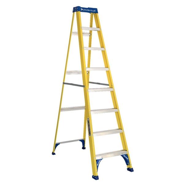 Picture of Louisville FS2008 Step Ladder, 147 in Max Reach H, 7-Step, 250 lb, Type I Duty Rating, 3 in D Step, Fiberglass