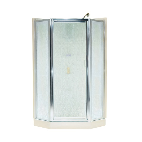 Picture of Sterling Intrigue SP2276A-38S Shower Door, Rain Glass, Tempered Glass, Aluminum Frame, Stainless Steel