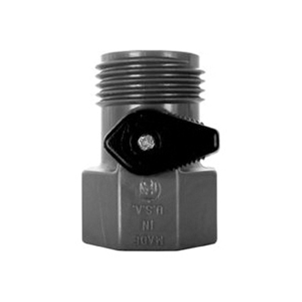 Picture of VALLEY INDUSTRIES GHV-1-BLK-CSK Garden Hose Valve FGHT x MGHT, FGHT x MGHT, 60 psi Pressure, Nylon