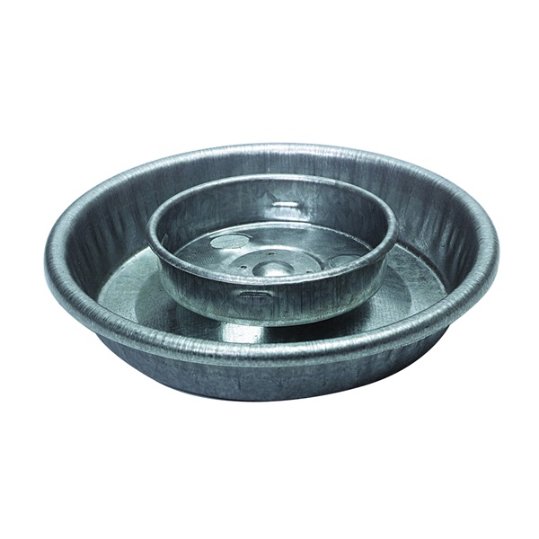 Picture of Little Giant 9826 Waterer Base, 5-1/2 in Dia, 1-1/4 in H, 1 qt Capacity, Galvanized Steel