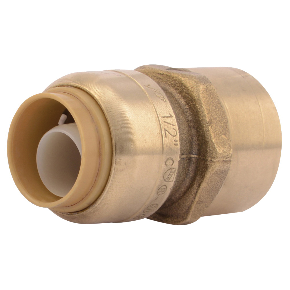 Picture of SharkBite U072LFA Pipe Connector, 1/2 in, FNPT x FNPT, Brass, 200 psi Pressure