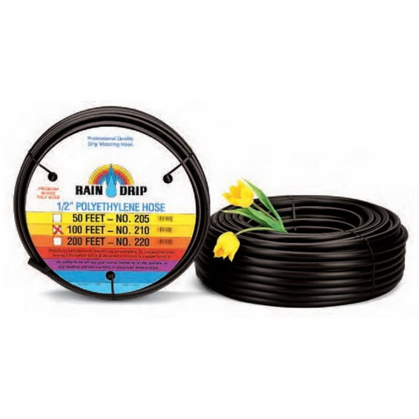 Picture of Raindrip 052005P Drip Watering Hose, 0.62 in ID, 50 ft L, Polyethylene, Black