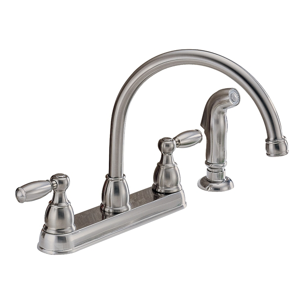 Picture of DELTA Peerless Claymore P299575LF-SS Kitchen Faucet, 1.8 gpm, 2-Faucet Handle, Stainless Steel, Deck Mounting