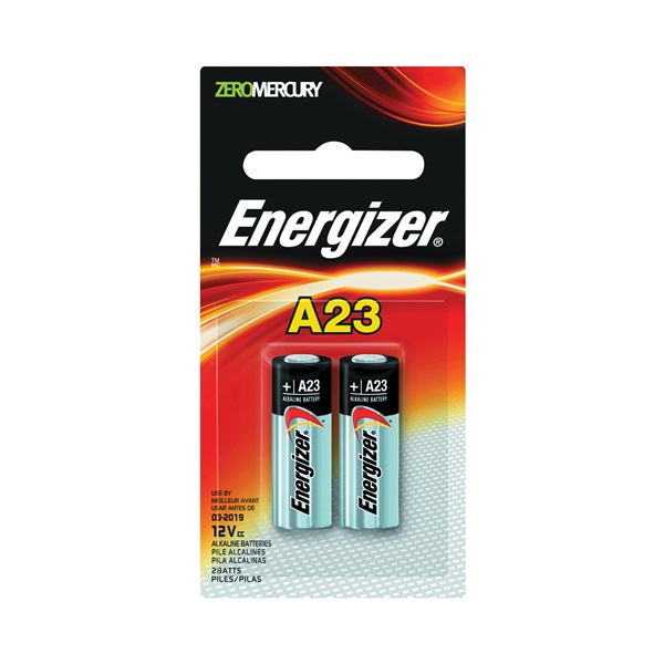 Picture of Energizer A23 Series A23BPZ-2 Alkaline Battery, 12 V Battery, 55 mAh, Manganese Dioxide