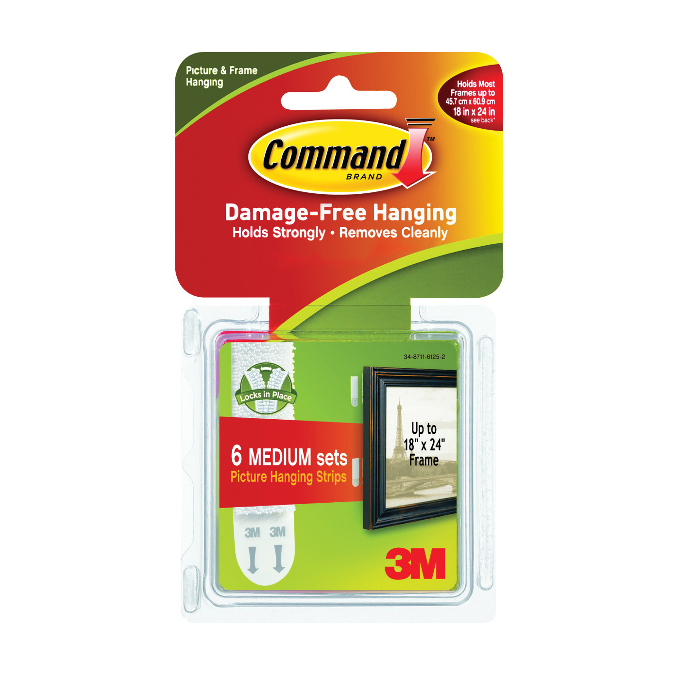 Picture of Command 17204 Picture Hanging Strip, 3 lb/set, Foam, White, 12, Pack