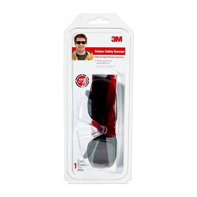 Picture of 3M TEKK Protection 90552-00000B Safety Eyewear, Anti-Scratch Lens, Polycarbonate Lens, Wraparound Frame, Black Frame