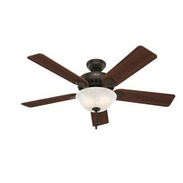 Picture of Hunter 53250/28724 Ceiling Fan with Light, 0.54 A, 120 V, 5-Blade, 52 in Sweep, 5232 cfm Air