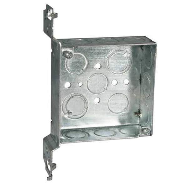 Picture of RACO 8196 Electrical Box, 2-Gang, 14-Knockout, Steel, Gray, Galvanized, FM Bracket Mounting