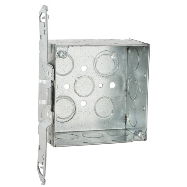 Picture of Orbit 4SDB-50/75-FB Junction Box, 1-Gang, 14-Knockout, 1/2, 3/4 in Knockout, Steel, Gray, Galvanized