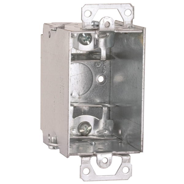 Picture of RACO 518/8518 Switch Box, 1-Gang, 5-Knockout, 1/2 in Knockout, Steel, Gray, Galvanized, Screw Mounting
