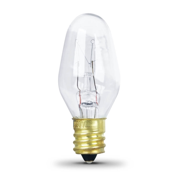 Picture of Feit Electric BP4C7 Incandescent Lamp, 4 W, Candelabra E12 Lamp Base, 2700 K Color Temp, 3000 hr Average Life