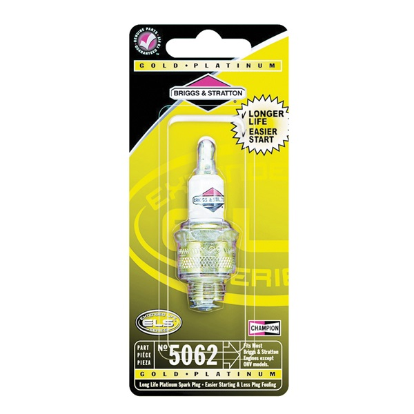 Picture of BRIGGS & STRATTON Extended Life 5062K Spark Plug, 14 mm Thread, 13/16 in Hex, Platinum
