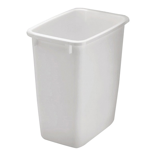 Picture of Rubbermaid FG280500WHT Waste Basket, 21 qt Capacity, Rectangular, Plastic, White, 9 in W, 12.9 in D, 15 in H