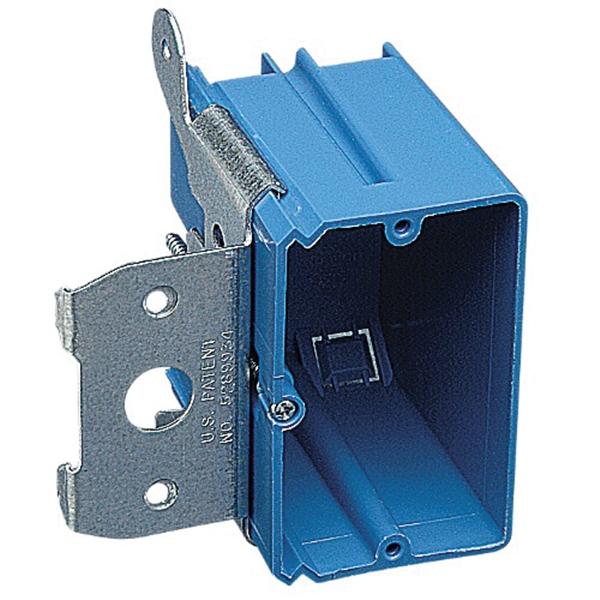 Picture of Carlon B121ADJ Wall Box, 1-Gang, PVC, Blue, Bracket Mounting