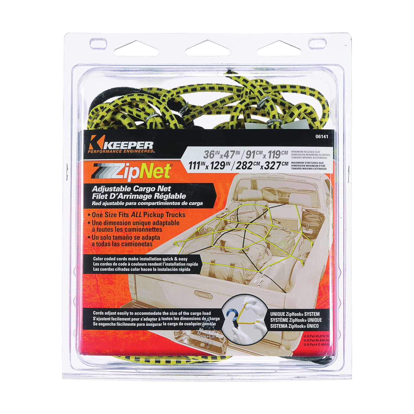 Picture of KEEPER ZipNet 06141 Cargo Net, 86 in L, 74 in W, Rubber, Black/Yellow