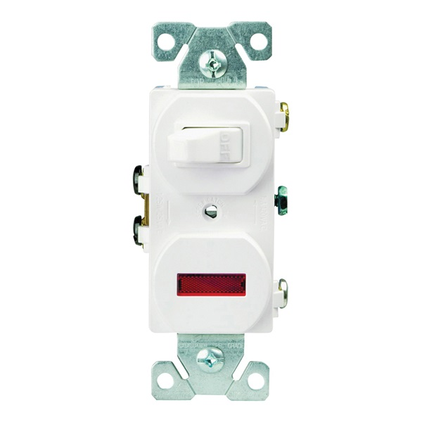 Picture of Eaton Wiring Devices 277W-BOX Combination Toggle Switch, 15 A, 120 V, Screw Terminal, Steel Housing Material, White