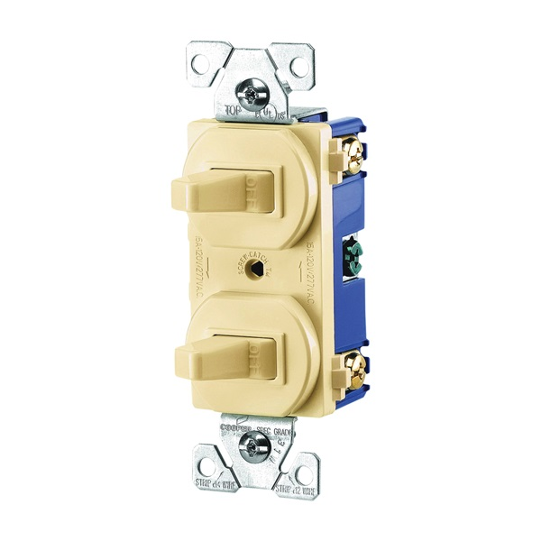 Picture of Eaton Wiring Devices 275V-BOX Combination Toggle Switch, 15 A, 120/277 V, Screw Terminal, Steel Housing Material