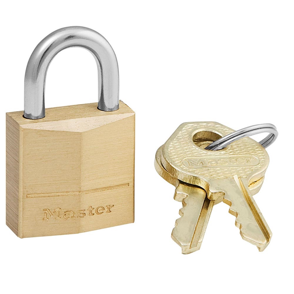Picture of Master Lock 120D Padlock, Keyed Different Key, 5/32 in Dia Shackle, Steel Shackle, Solid Brass Body, 3/4 in W Body